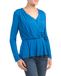 Long Sleeve Surplice Wrap Knit Top