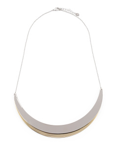 2 Tone Double Crescent Collar Necklace