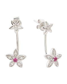 14k White Gold Diamond And Ruby Drop Flower Earrings