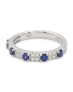 18k White Gold Diamond And Sapphire Band Ring