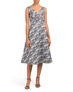 Sheath Metallic Jacquard Cocktail Dress