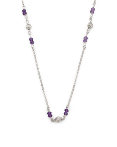 Made In Italy Sterling Silver Amethyst Bead Station Necklace