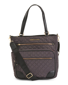 Quilted Multi Front Pocket Satchel