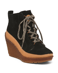 Wedged Suede Booties