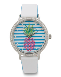 Women's Pineapple Dial Leather Strap Watch