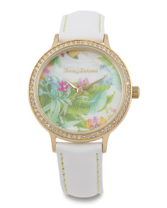 Women's Tropical Dial Leather Strap Watch
