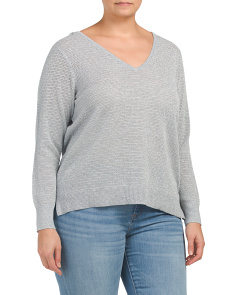 Plus Lurex Double V Neck Sweater