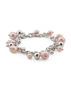 Made In Italy Sterling Silver Pink Pearl Bracelet