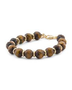 Made In Italy Sterling Silver Tigers Eye Bracelet