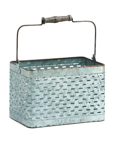Galvanized Metal Storage Basket