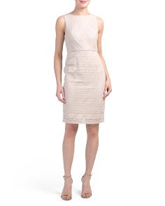 Petite Sleeveless Patterned Lace Sheath Dress