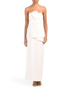 Petite Strapless Gown With Architectural Bow