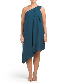 Plus One Shoulder Drape Dress
