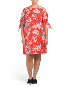 Plus Floral Linen Blend Dress
