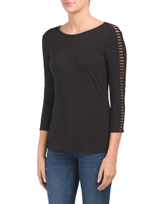 Three-quarter Sleeve Crew Neck Top
