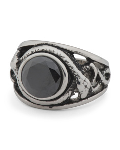Men's Cz Stainless Steel Signet Ring
