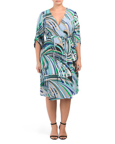 Plus Abstract Striped Wrap Dress