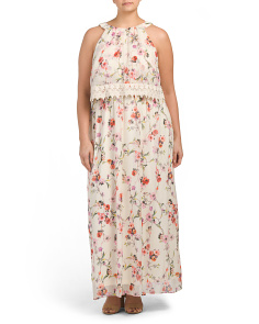 Plus Sleeveless Floral Halter Dress