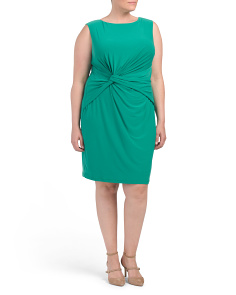 Plus Sleeveless Knot Sheath Dress