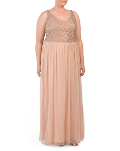 Plus Sleevless Draping Skirt Gown