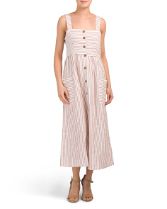 Button Front Linen Midi Dress
