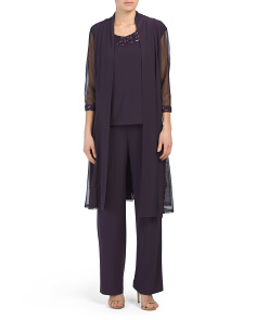 Pant Suit With Embellished Neckline