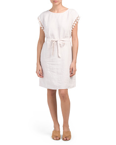 Linen Blend Tassel Dress With Belt