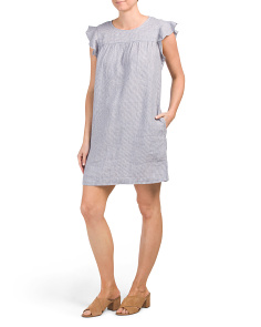 Linen Ruffle Sleeve Shift Dress