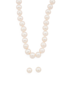 14k Gold Pearl Stud Earring And Necklace Set