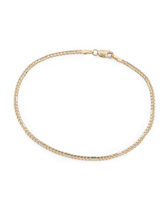 14k Gold Alternate Curb Concave Chain Bracelet
