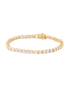 14k Gold Plated Sterling Silver Bezel Set Cz Tennis Bracelet