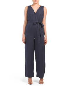 Scallop Neck Linen Jumpsuit