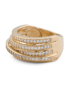 14k Yellow Gold Plated Cz Highway Ring