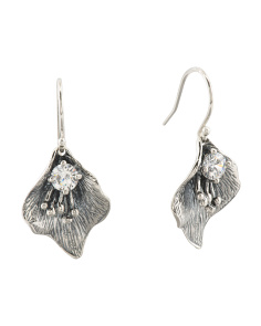 Made In Israel Sterling Silver Leaf Earrings