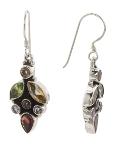 Made In India Sterling Silver Gemstone Drop Earrings
