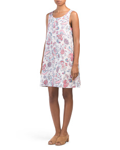 Linen Printed Trapeze Dress