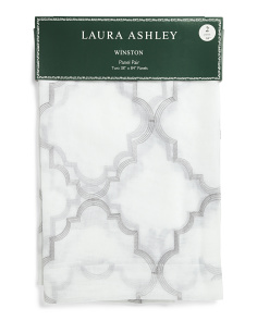 38x84 Set Of 2 Sheer Embroidered Curtains