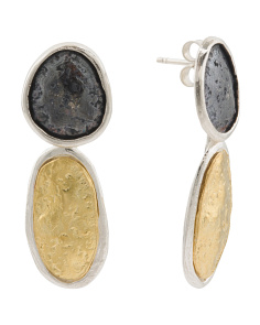 Made In Israel Sterling Silver 2 Tone Earrings
