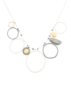 Made In Israel Tri Tone Sterling Silver Circle Necklace