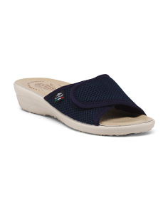 Made In Italy Mesh Velcro Slip On Sandals