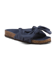 Made In Italy Bow Slip On Sandals