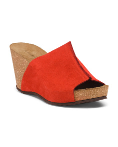 Made In Italy Solid Band Wedge Heel Sandals