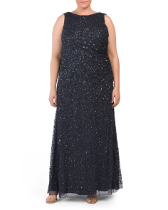 Plus Sleeveless Sequin A Line Gown