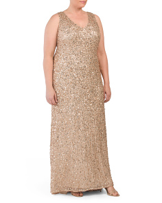 Plus V-neck Sleeveless A-line Gown