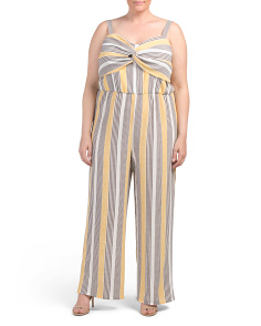 Juniors Plus Sleeveless Striped Jumpsuit