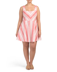 Plus Juniors Contrasting Stripe Dress