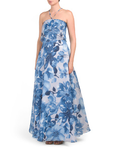 Printed Organza Gown With Pop Over Top