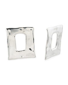Made In Israel Sterling Silver Open Rectangle Earrings