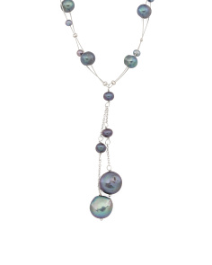 Sterling Silver Peacock Pearl 2 Row Lariat Necklace