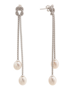Sterling Silver Pearl Popcorn Chain Linear Earrings